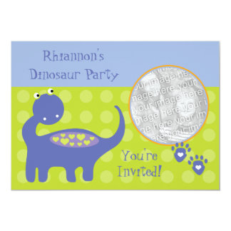 Purple Dinosaur Birthday Party Photo Invitations