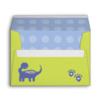 Purple Dinosaur Birthday with Dots Envelope