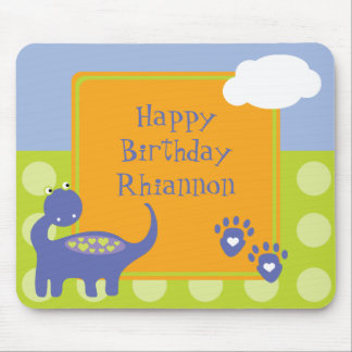 Purple Dinosaur Birthday with Dots Mouse Pad