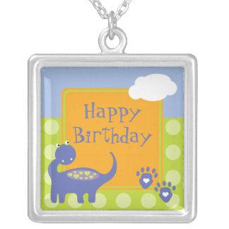Purple Dinosaur Birthday with Dots Square Pendant Necklace