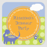Purple Dinosaur Birthday with Dots Thank You Stickers