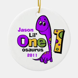 Purple Dinosaur Personalized 1st Birthday Ornament