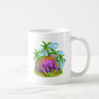Purple dinosaur standing on the ground coffee mug
