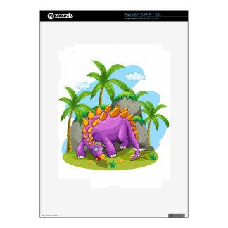 Purple dinosaur standing on the ground skins for iPad 2