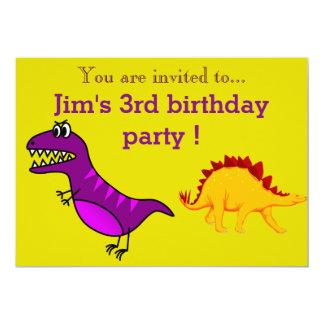 Purple dinosaur young boy's birthday party card