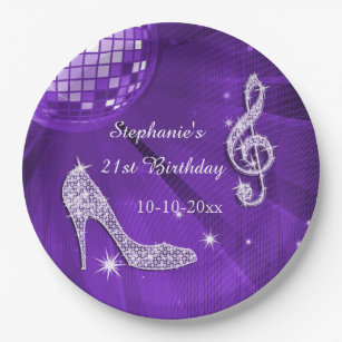Purple Disco Ball and Heels 21st Birthday Paper Plate & Funky Plates | Zazzle