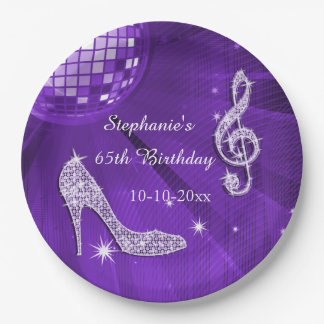Purple Disco Ball and Heels 65th Birthday Paper Plate