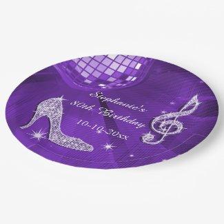 Purple Disco Ball and Heels 80th Birthday Paper Plate