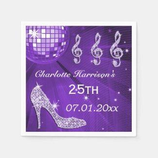 Purple Disco Ball and Sparkle Heels 25th Paper Napkin