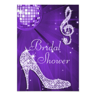 Purple Disco Ball and Sparkle Heels Bridal Shower Card