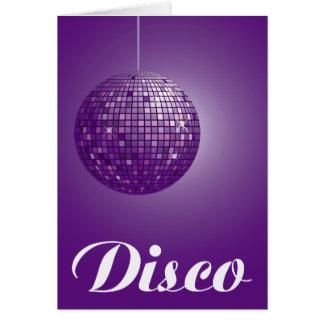 purple disco ball greeting card