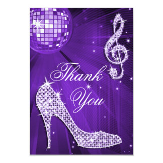 "Purple Disco Ball Sparkle Heels Thank You 3.5"" X 5"" Invitation Card"