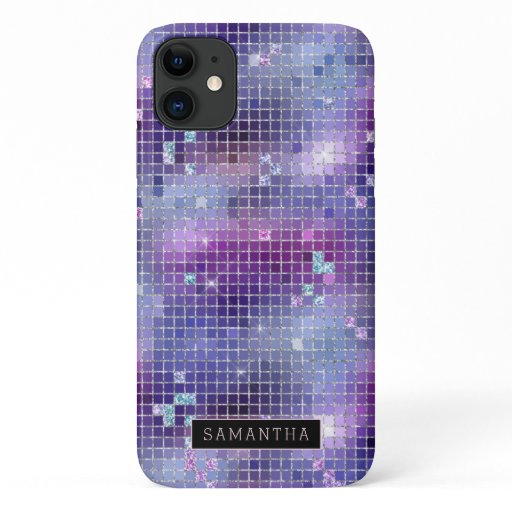 Purple Disco Ball Sparkle Mosaic Monogram iPhone 11 Case