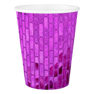 Purple Disco Ball Tiles Party Paper Cup