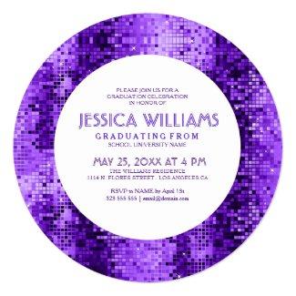 Purple Disco Glitter Grad Invitation