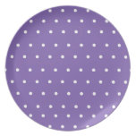 Purple Display Plate with white polka dots