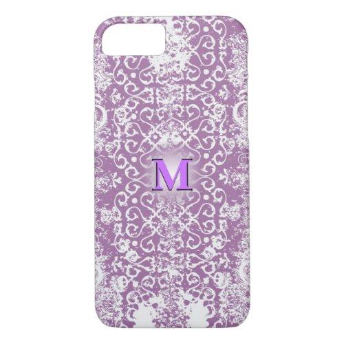 Purple Distressed 3D Monogram Phone Case