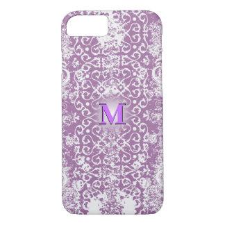 Purple Distressed 3D Monogram iPhone 8/7 Case