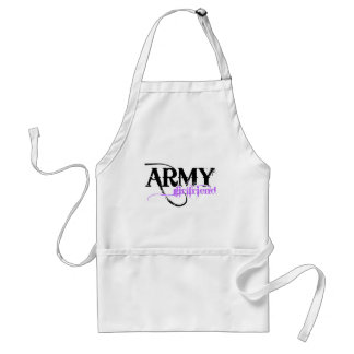 Purple Distressed Lettering Army Girlfriend Adult Apron