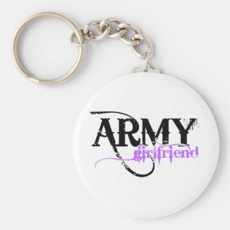Purple Distressed Lettering Army Girlfriend Basic Round Button Keychain