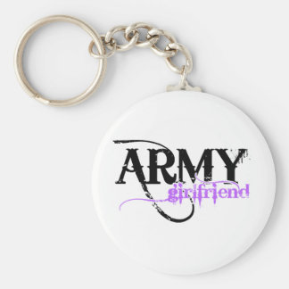 Purple Distressed Lettering Army Girlfriend Keychain