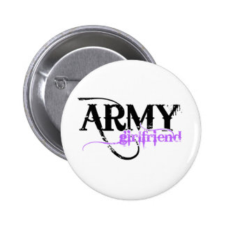 Purple Distressed Lettering Army Girlfriend Pinback Button
