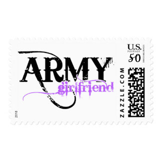 Purple Distressed Lettering Army Girlfriend Postage