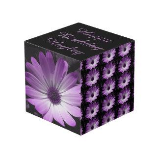 Purple Disyy Flower Personalized Cube