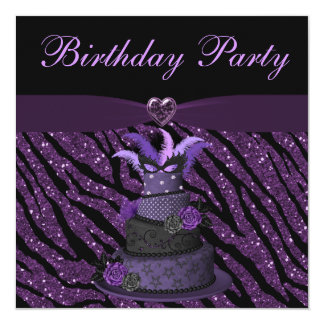 Purple Diva Cake & Printed Zebra Glitter Birthday Card