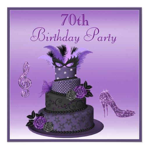 Purple Diva Cake, Sparkle High Heels 70th Birthday Personalized Invite