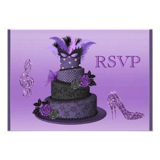 Purple Diva Cake Sparkle High Heels RSVP Invitation