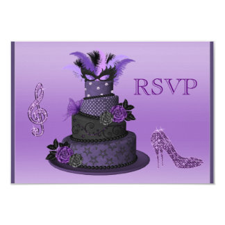 "Purple Diva Cake, Sparkle High Heels RSVP 3.5"" X 5"" Invitation Card"