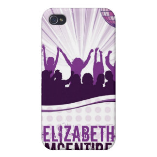 Purple DJ Spin Party Personalized iPhone 4 Case