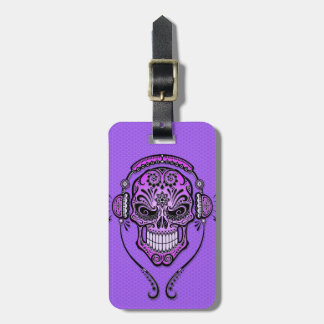 Purple DJ Sugar Skull Luggage Tag