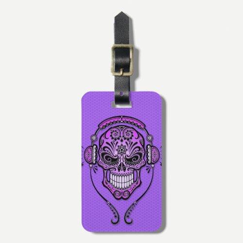 Purple DJ Sugar Skull Luggage Tag