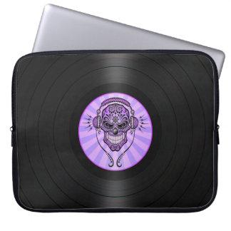 Purple Dj Sugar Skull on Vinyl Record Graphic Computer Sleeve