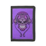 Purple DJ Sugar Skull Trifold Wallets