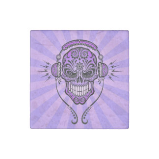 Purple DJ Sugar Skull with Rays of Light Stone Magnet