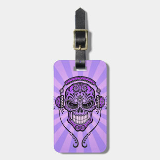 Purple DJ Sugar Skull with Rays of Light Tags For Luggage