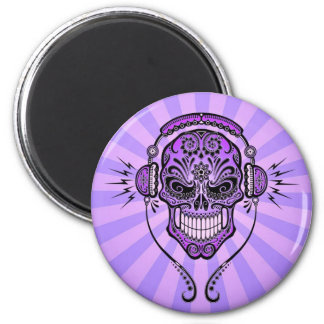 Purple DJ Sugar Skull with Rays of Light Magnet