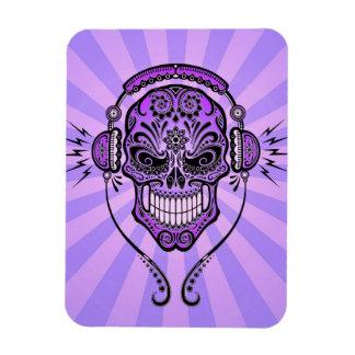 Purple DJ Sugar Skull with Rays of Light Rectangle Magnet