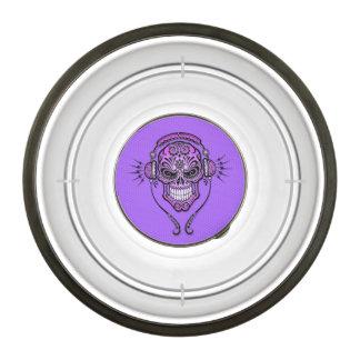 Purple DJ Sugar Skull Pet Bowl
