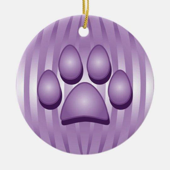 Purple Dog Bone and Paw Christmas Ornament