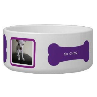 Purple Dog Bone Photo Personalized Pet Bowl Dog Food Bowls
