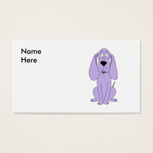 Purple Dog. Cute Hound Cartoon. Business Card