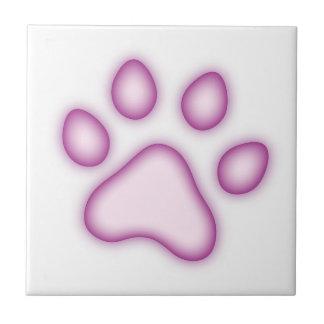 Purple dog or cat footprint ceramic tile