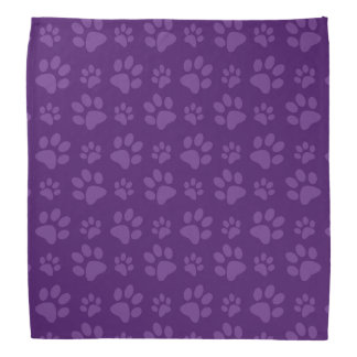 Purple dog paw print pattern bandana