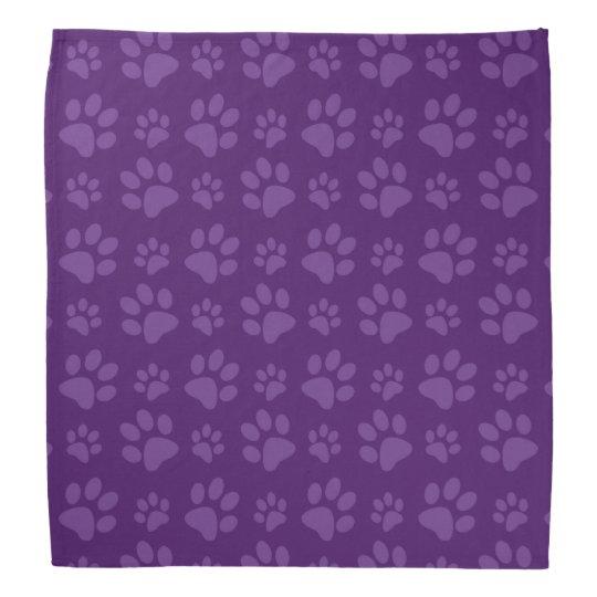 Purple dog paw print pattern bandana | Zazzle