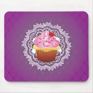 Purple Doilies and Cupcake Mouse Pad