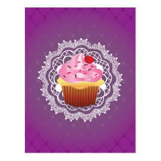 Purple Doilies and Cupcake Postcard